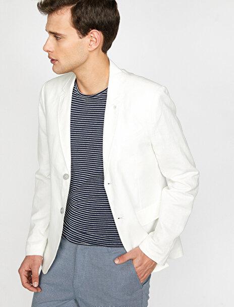 Erkek Keten Blazer Ceket