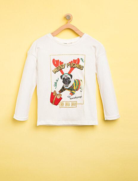 7-8 female Ekru Koton Kız Çocuk Yilbasi Temali T-Shirt