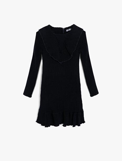5-6 female Lacivert Koton Kız Çocuk Yaka Detayli Elbise