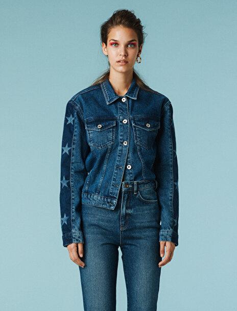 Koton Kadın Desenli Jean Ceket