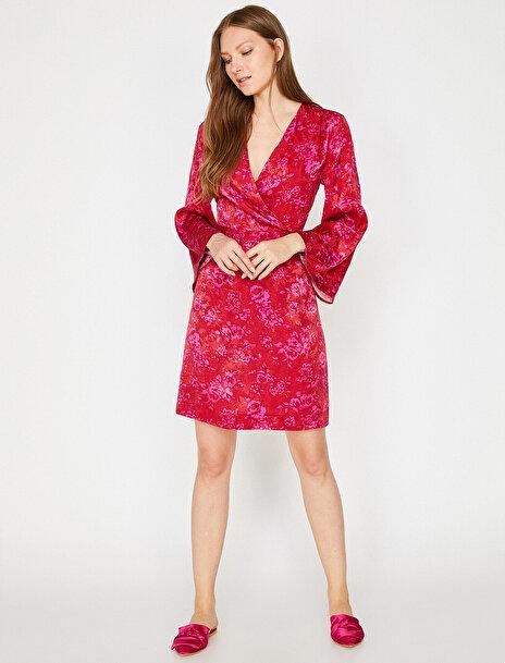 Koton Kadın Desenli Kadife Elbise