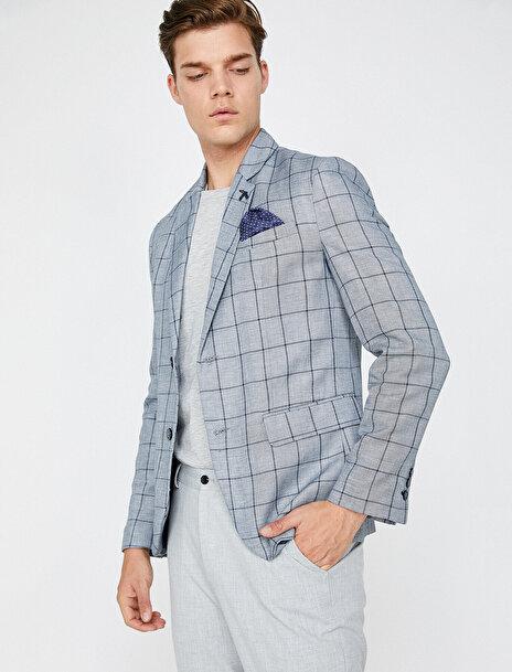 Erkek Kareli Blazer Ceket
