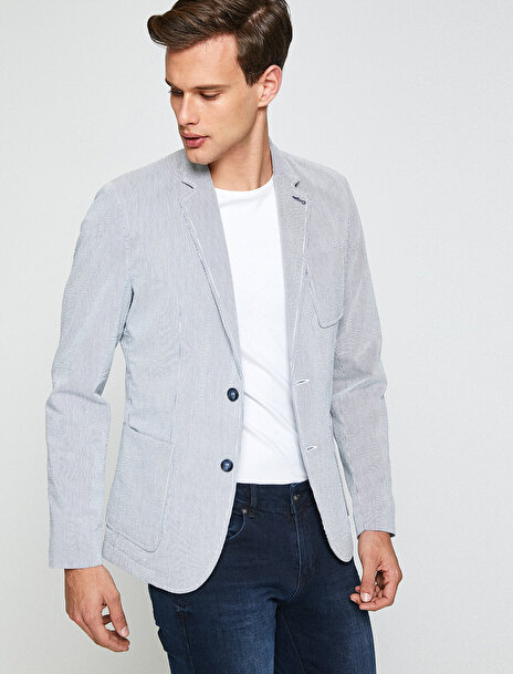 Erkek Dügme Detayli Blazer Ceket