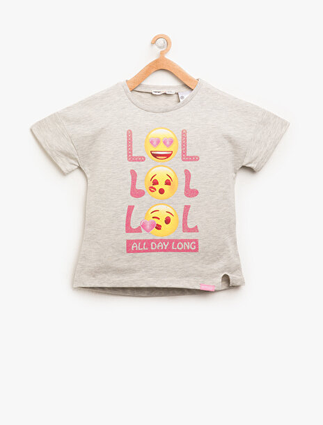 7-8 female Gri Koton Kız Çocuk Emoji Sim Detayli T-Shirt