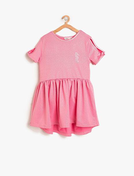 3-4 female Pembe Koton Kız Çocuk Sim Detayli Elbise
