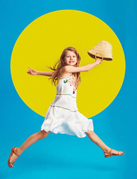 7-8 female Beyaz Koton Kız Çocuk Islemeli Elbise
