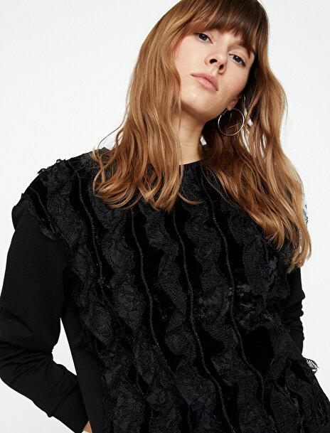 Koton Kadın Dantel Detayli Sweatshirt