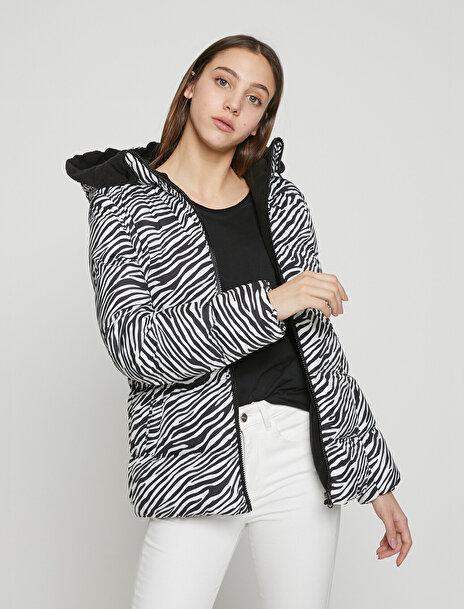 Kadın Zebra Desenli Mont