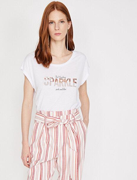 Kadın Pul Detayli T-Shirt