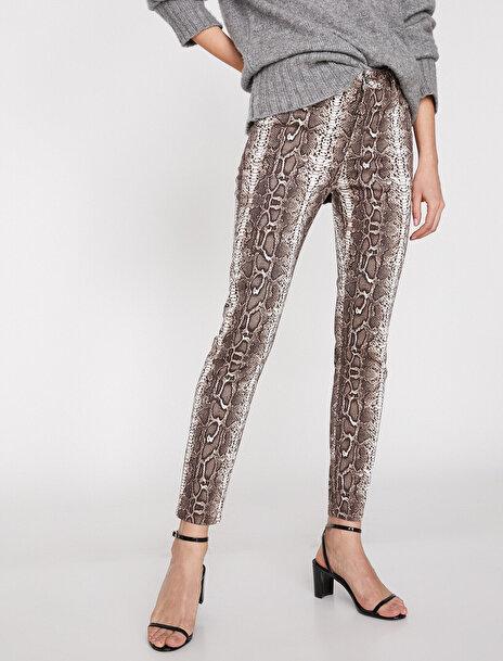 Kadın Yilan Derisi Desenli Pantolon