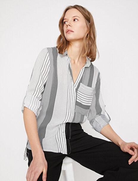 Koton Kadın Çizgili Gömlek
