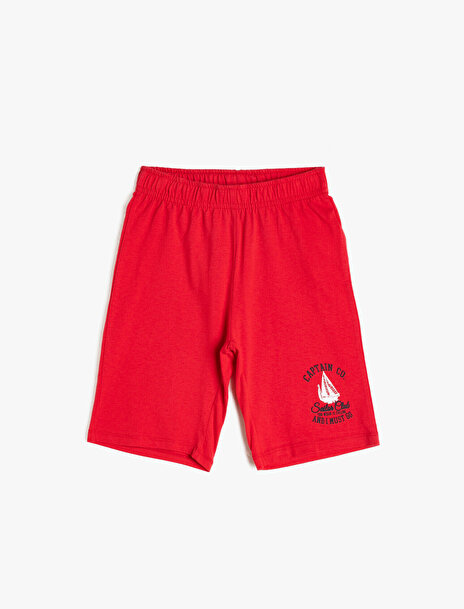 5-6 male Kırmızı Koton Erkek Çocuk Baskili Sort