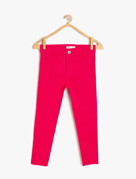 5-6 female Pembe Koton Kız Çocuk Cep Detayli Pantolon