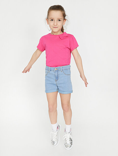 6-7 female Mavi Koton Kız Çocuk Cep Detayli Jean Sort