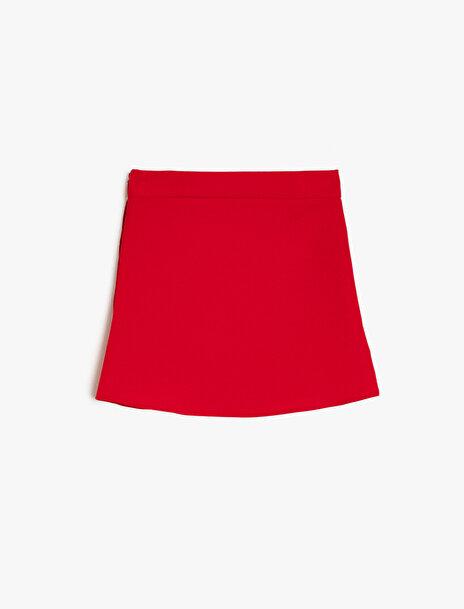 112 female Kırmızı Koton Kız Çocuk Normal Bel Etek