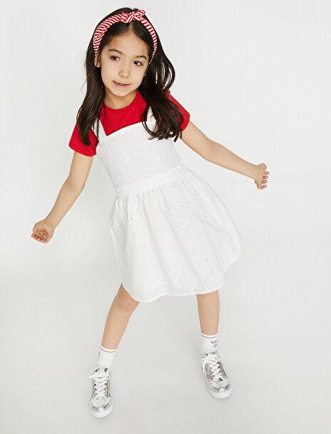 5-6 female Beyaz Koton Kız Çocuk Dantel Detayli Elbise