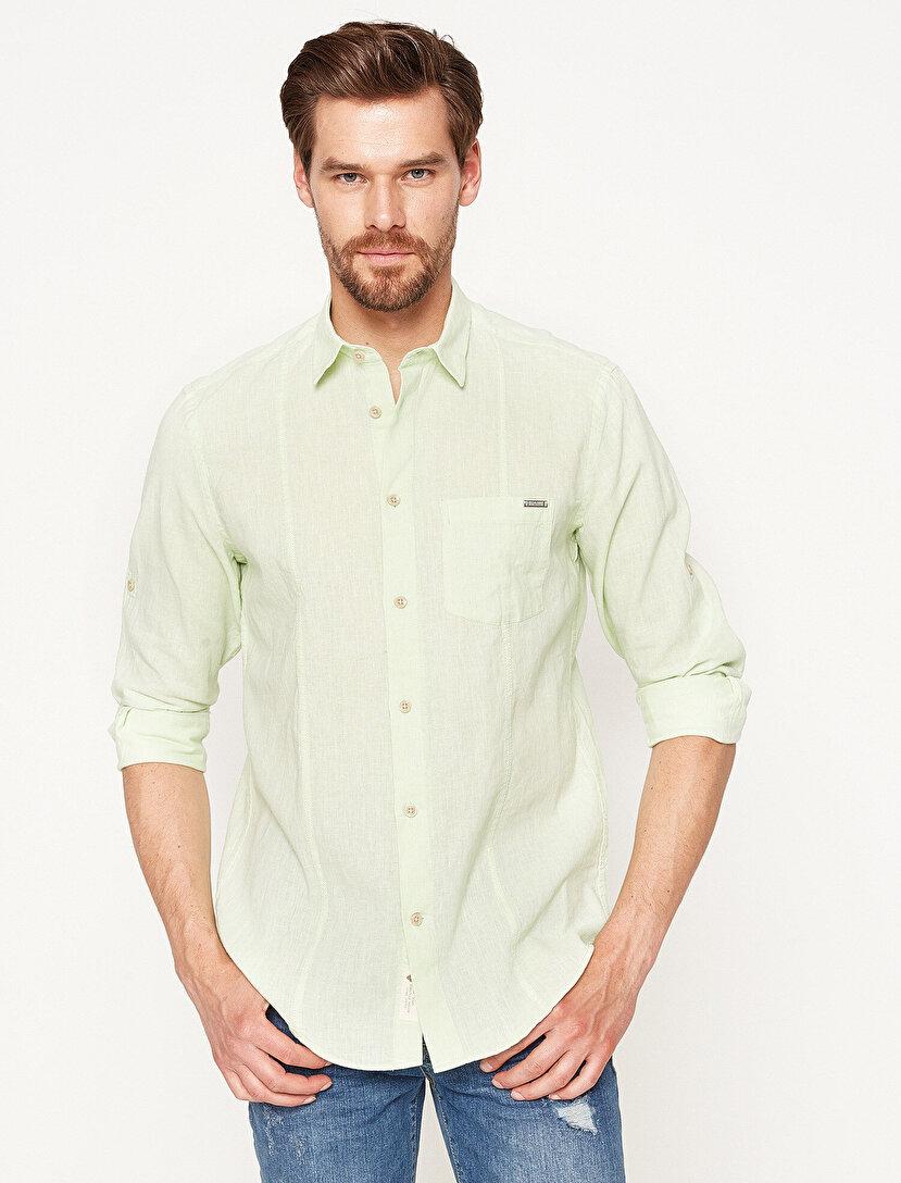 Keten Klasik Yaka Gömlek