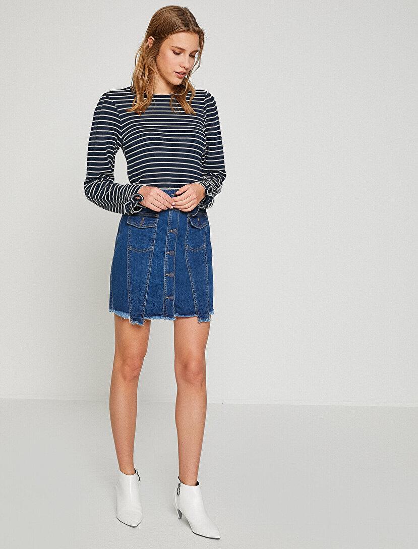 Düğme Detaylı Jean Skirt