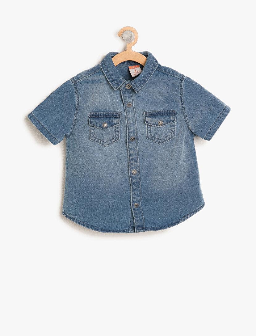 Cep Detaylı Jean Gömlek