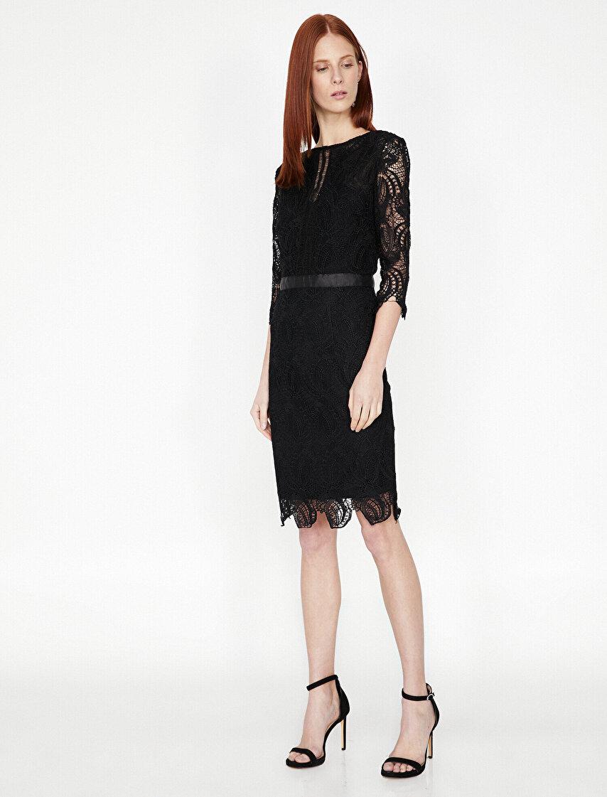 d52b0a6671274 Bayan Dantel Detaylı Elbise Modelleri | Koton Dantel Detaylı Elbise