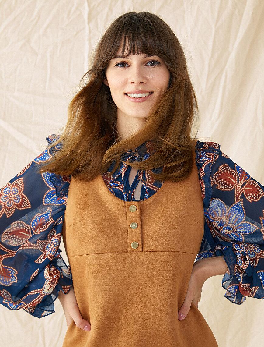 Süet Görünümlü Elbise