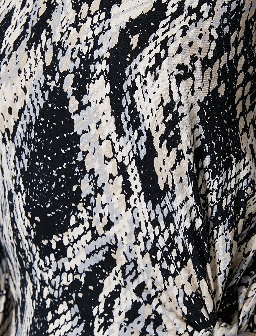 Yılan Derisi Desenli Elbise