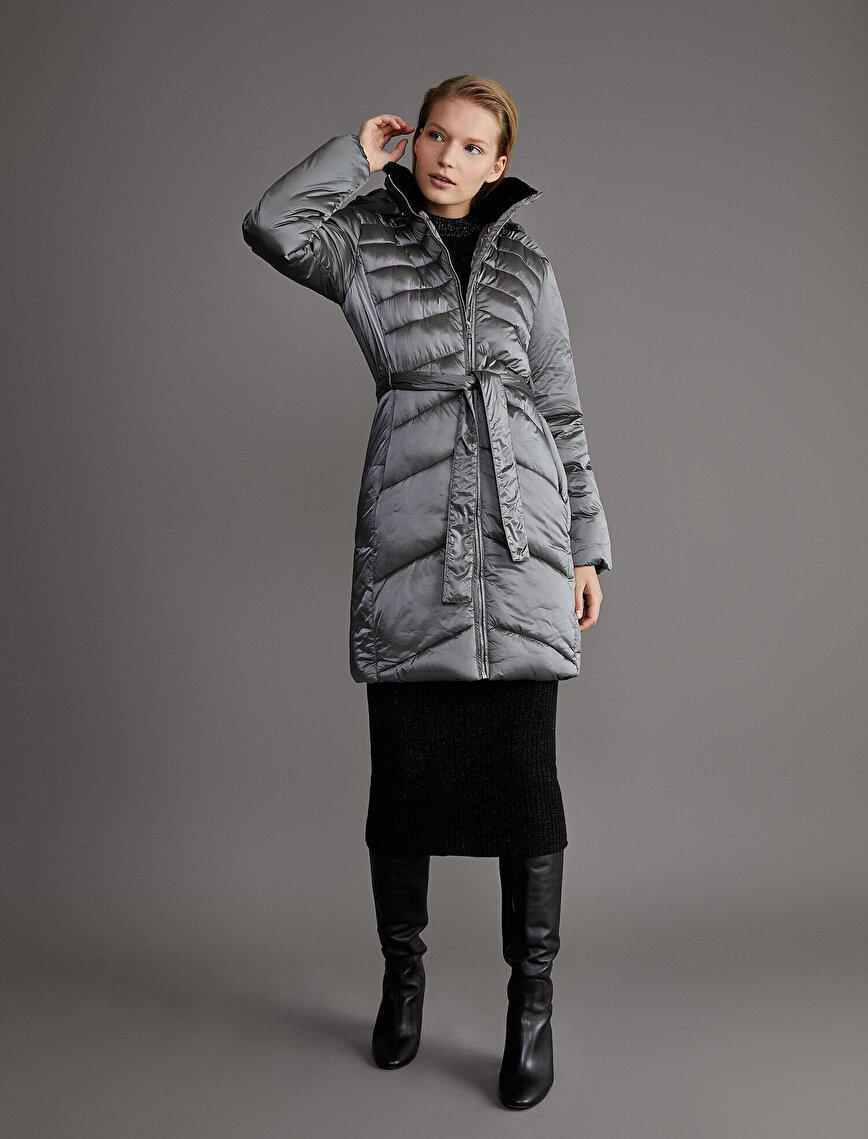 Tie Waist Puffer Coat