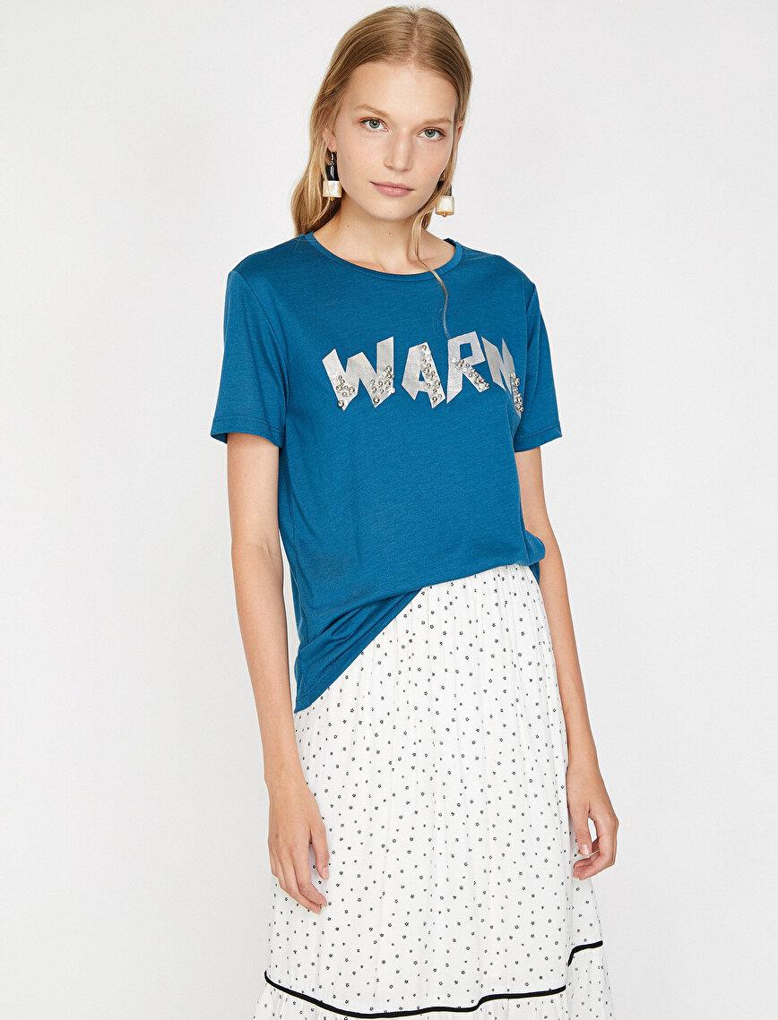 Boncuk Detaylı T-Shirt