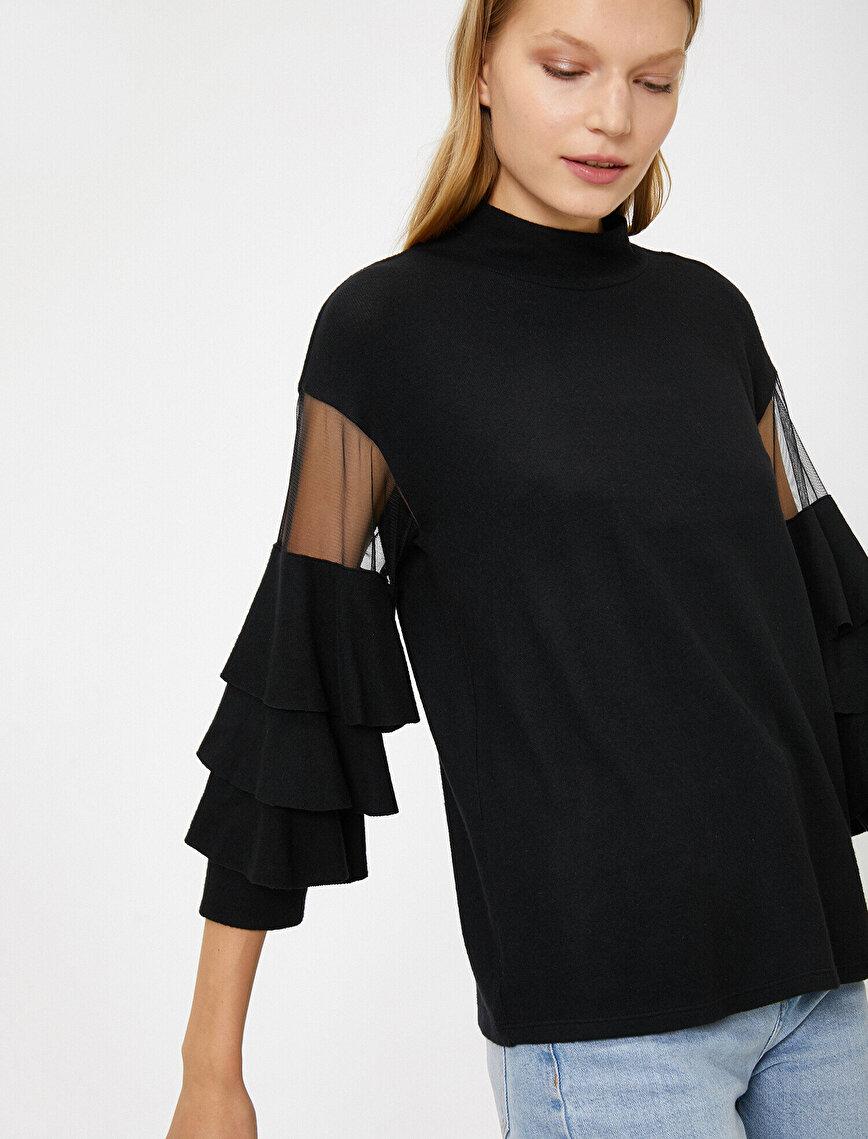 Tül Detaylı Sweater