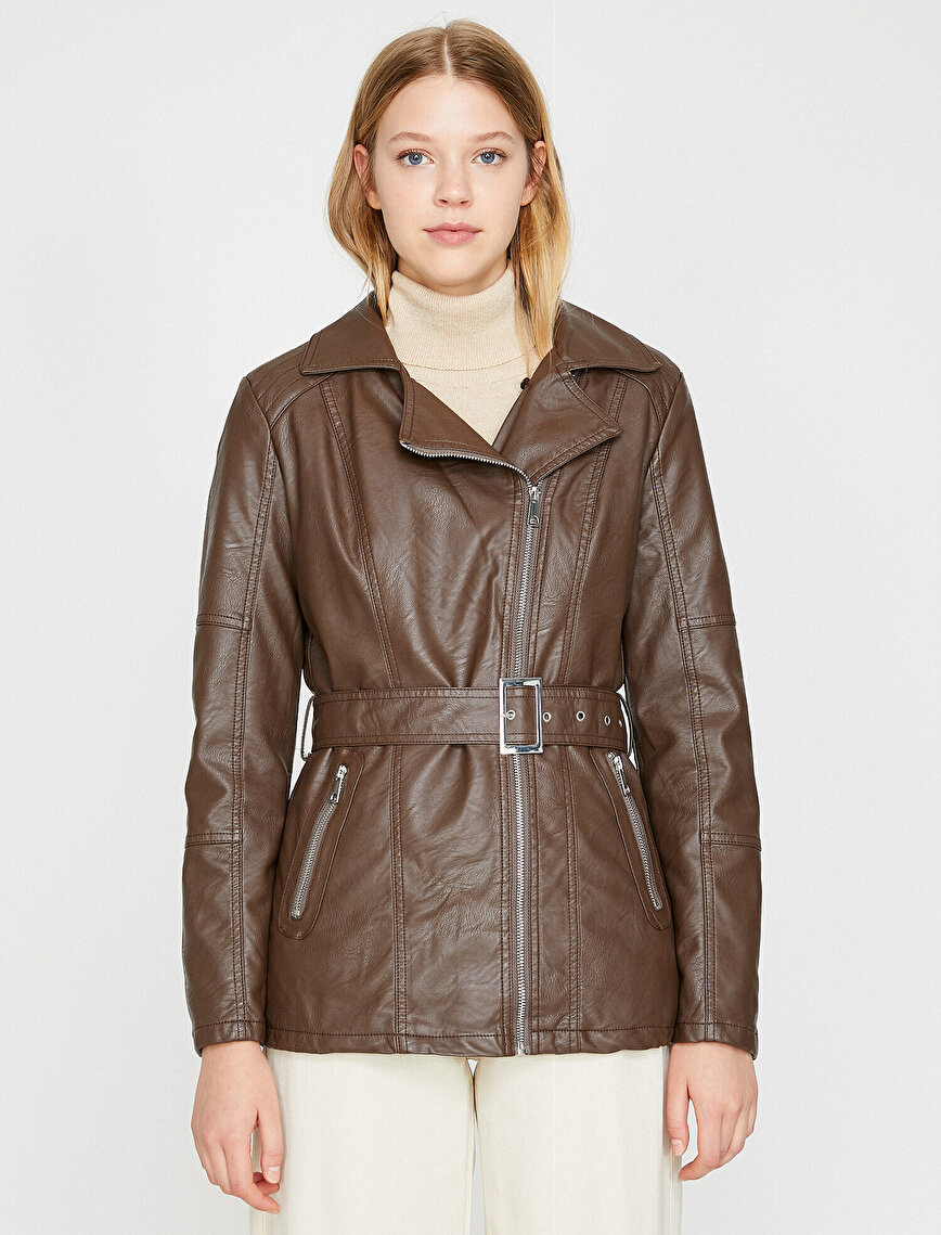 Faur Fux Detailed Leather Look Coat