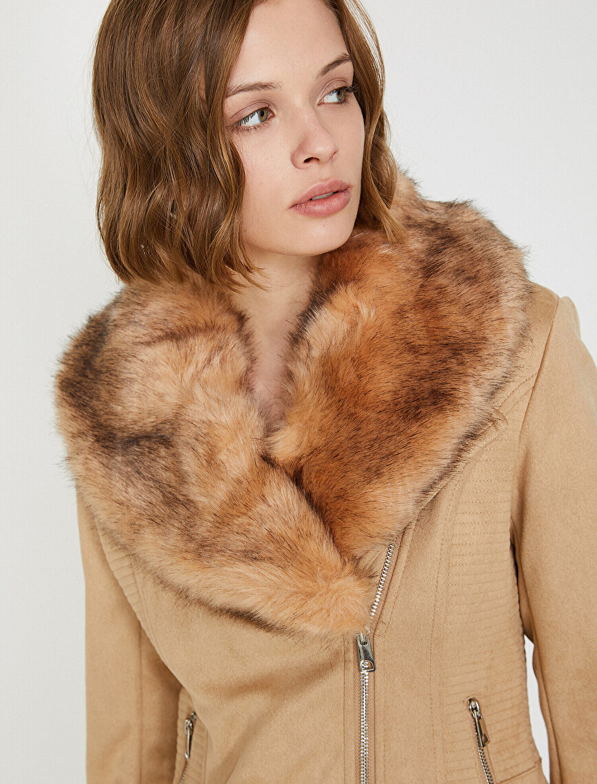 Furry Collar Leather Jacket