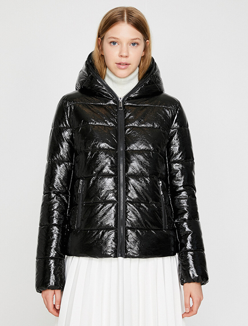 Hooded Shiny Puffer Coat