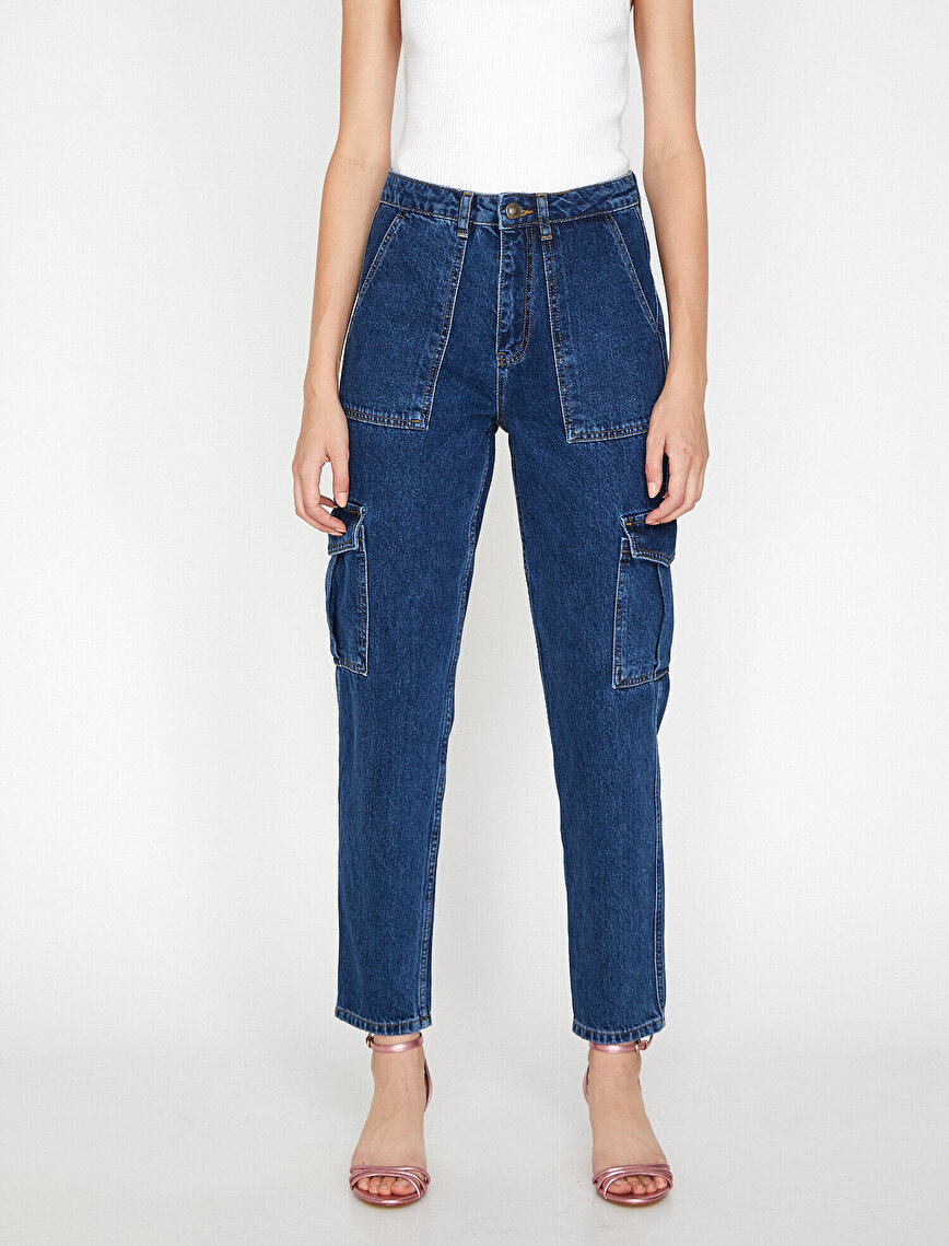 Mom Jean Cargo Pantolon