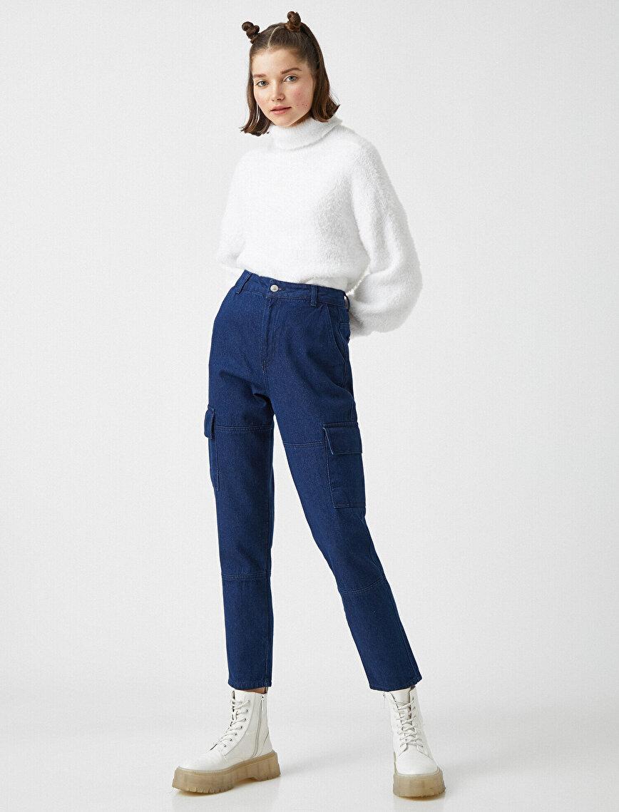 Cargo Jean - Yüksek Bel Rahat Kesim Kargo Cep Detaylı Pantolon