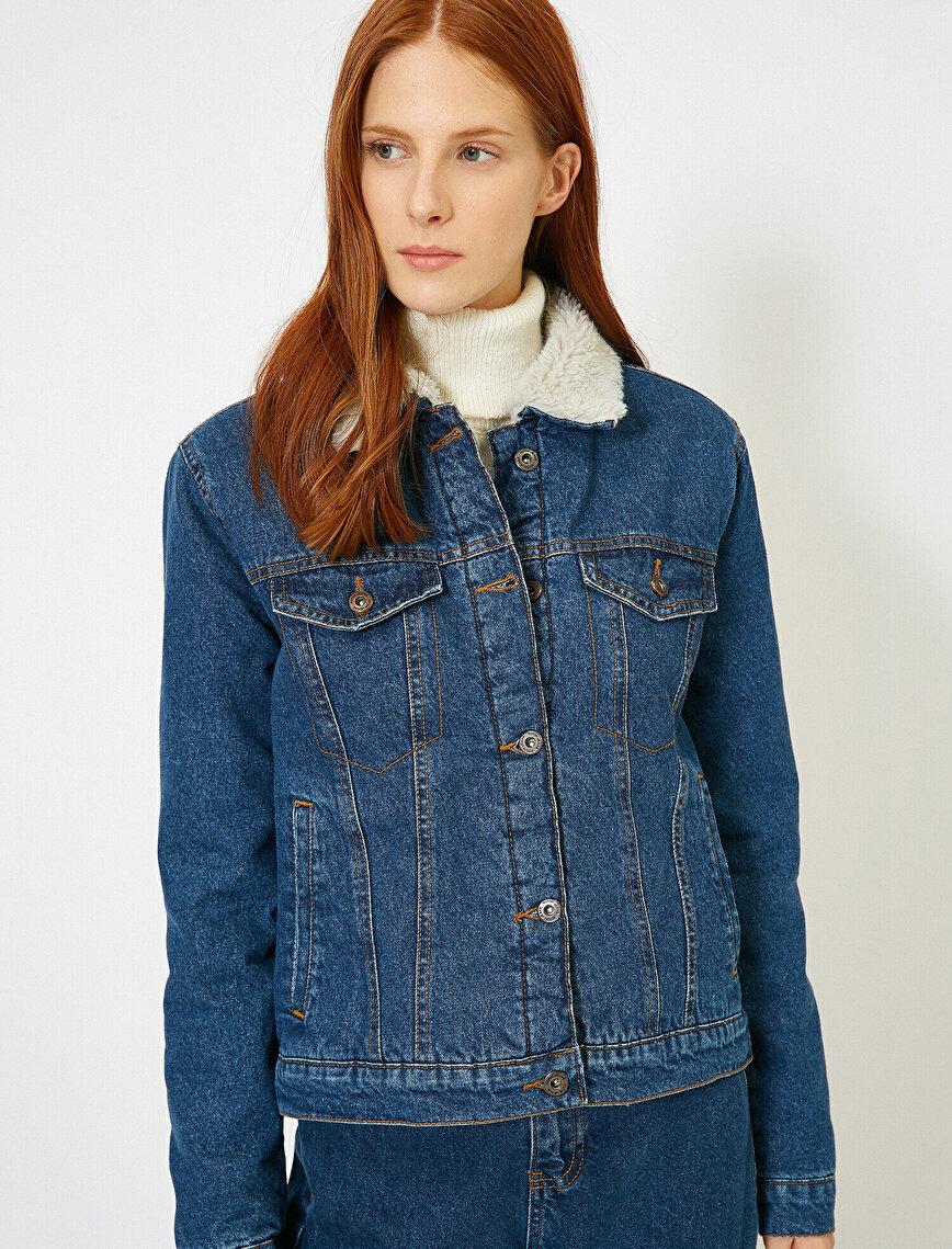 Yakası Suni Kürk Detaylı Jean Ceket