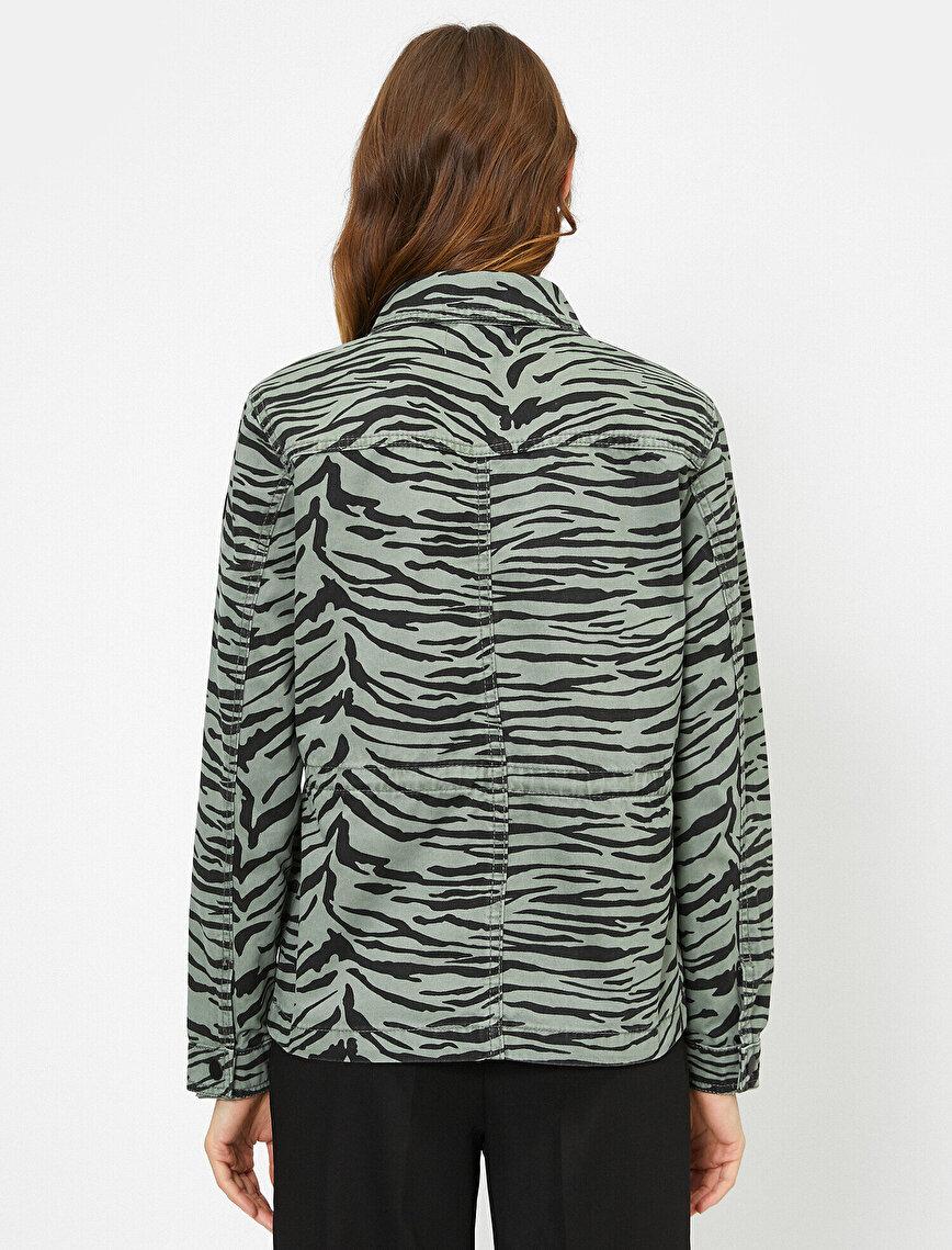 Zebra Desenli Jean Ceket