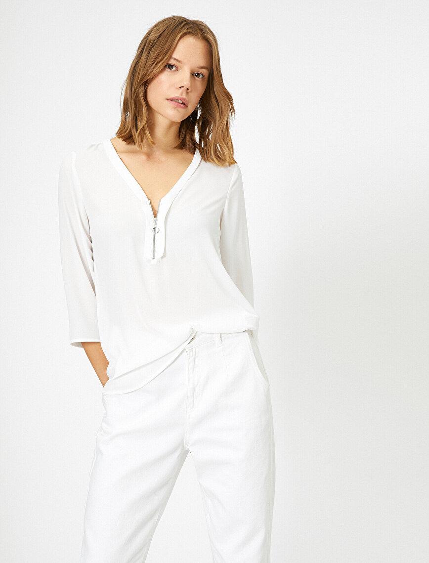 Fermuar Detaylı Bluz