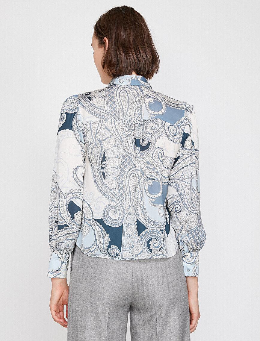 Şal Desenli Saten Bluz