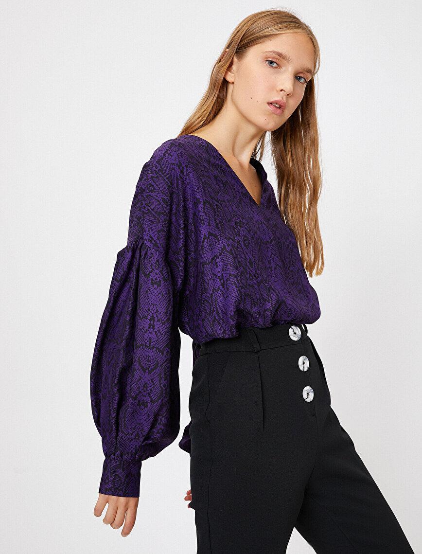 Yılan Derisi Desenli Bluz