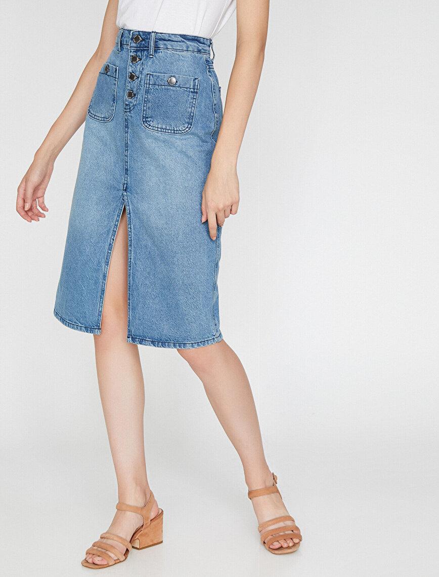 Stil Detailed Jean Skirt