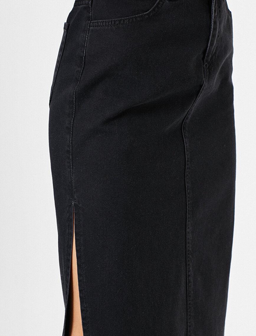 Slit Detailed Jean Skirt