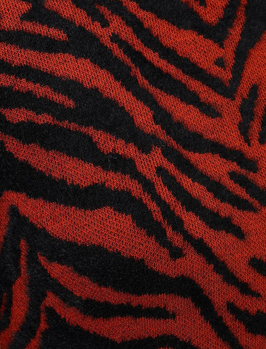 Zebra Desenli Triko Elbise