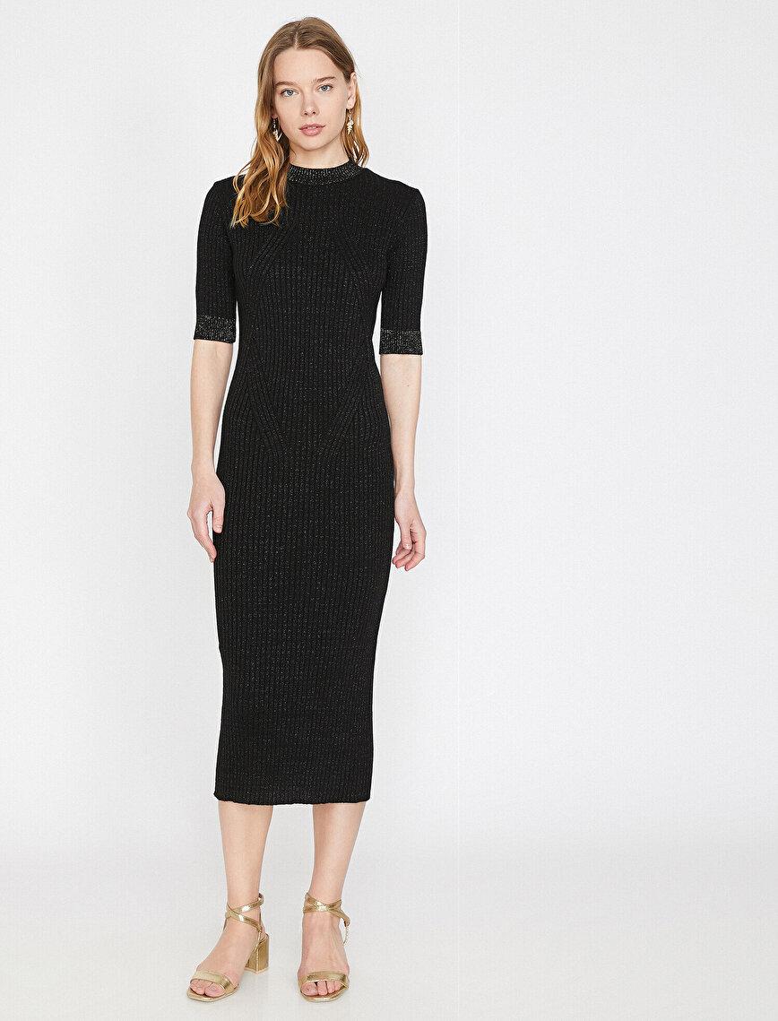 Sim Detaylı Triko Elbise