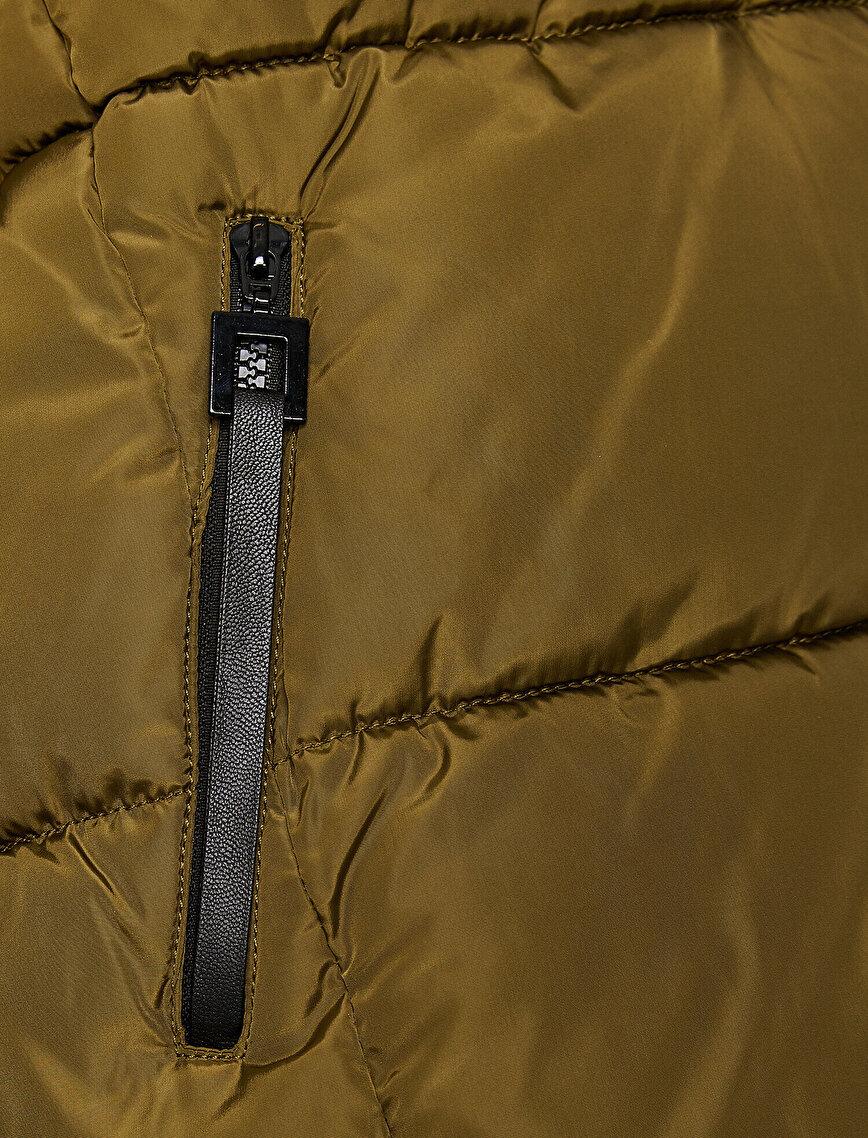 Suni Kürk Kapüşonlu Uzun Şişme Mont