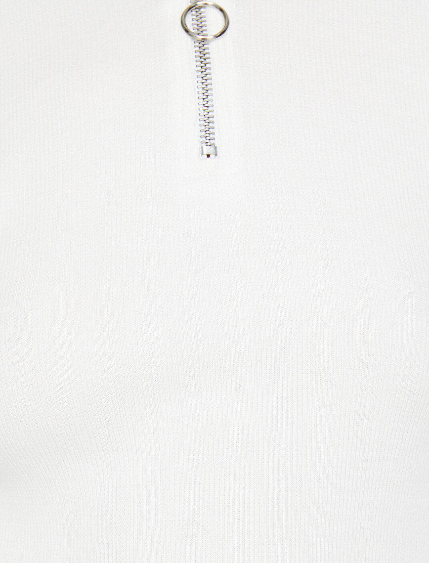 Zipper Detailed T-Shirt