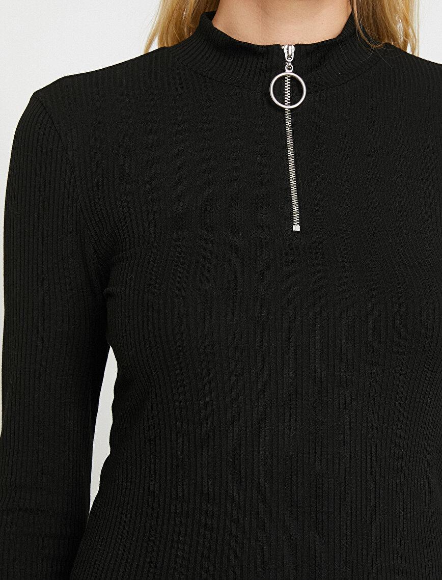 Fermuar Detaylı T-Shirt