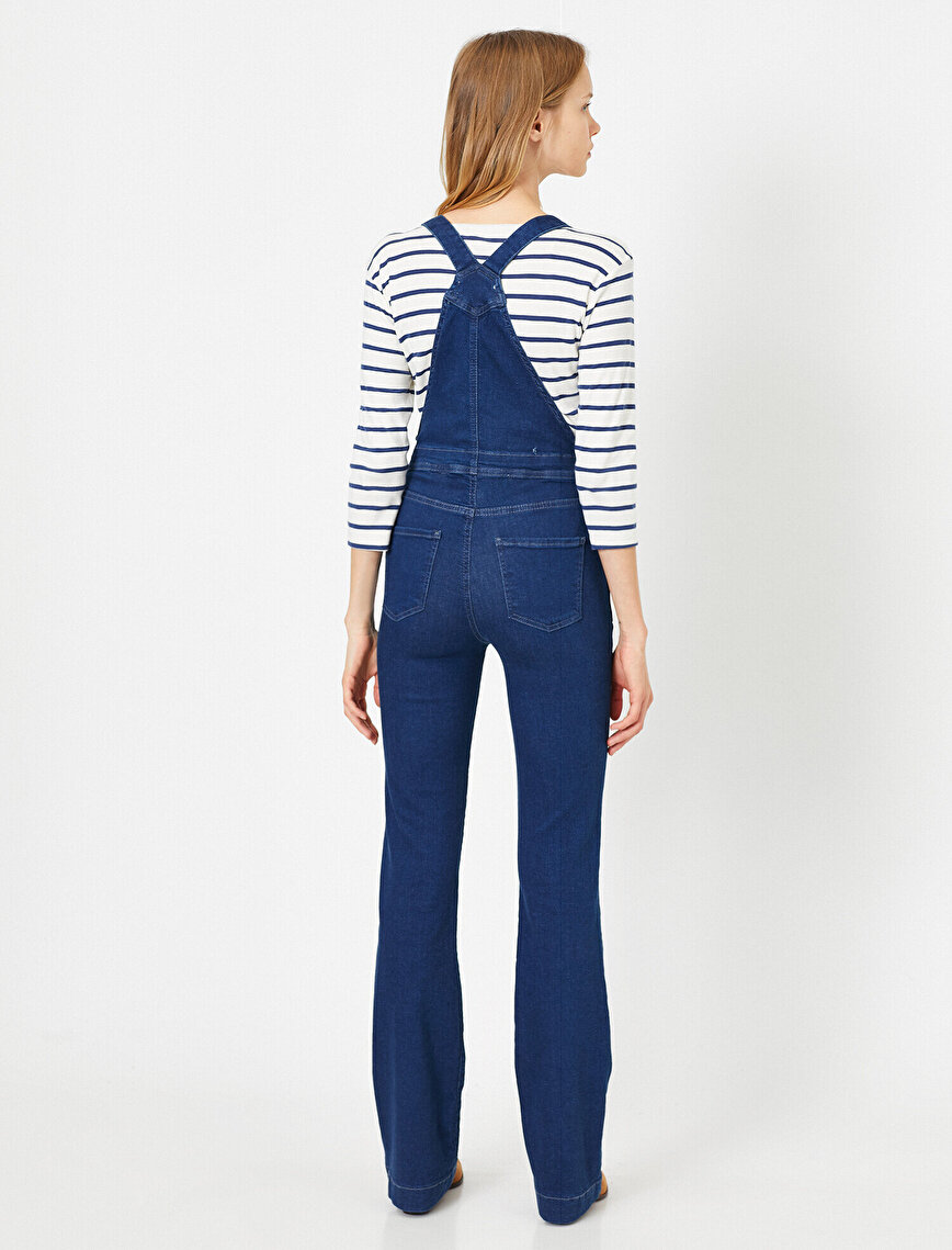 Pocket Detailed Jean Jumpsuits
