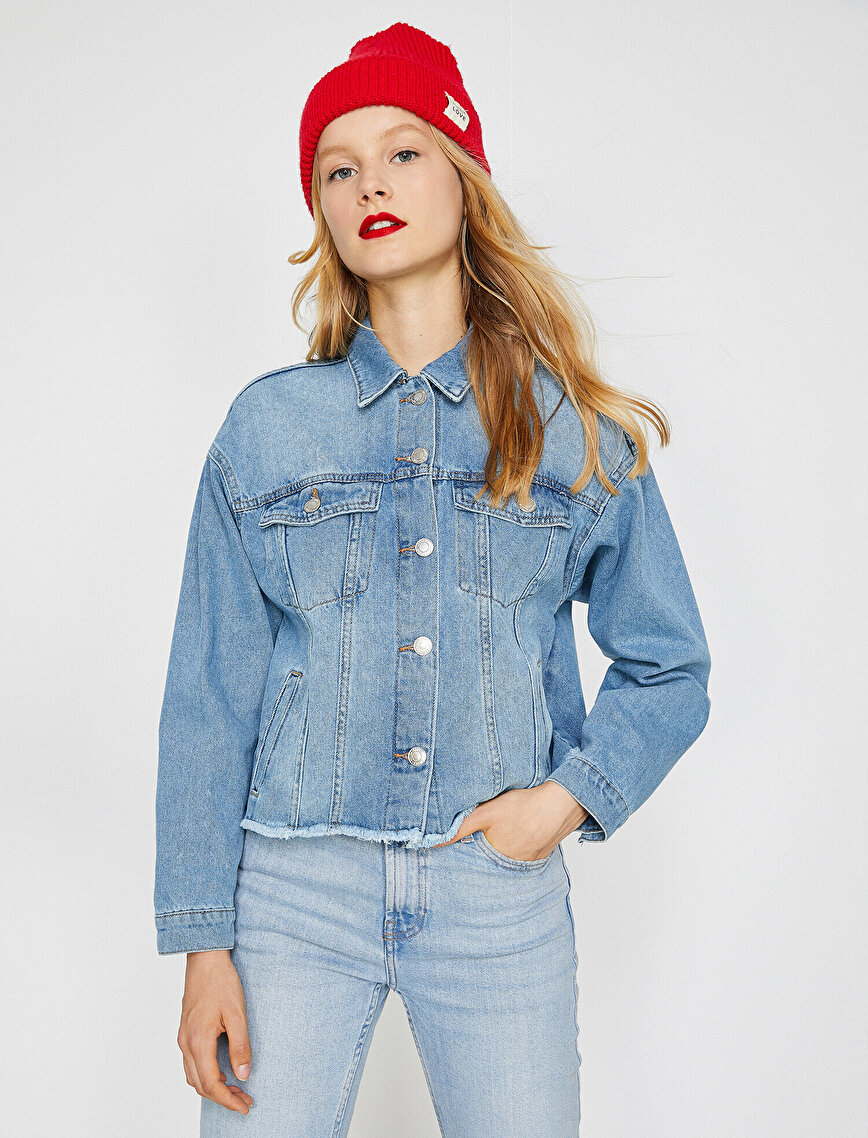 Düğme Detaylı Jean Ceket