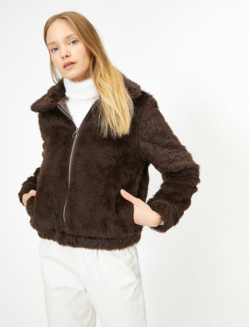 Zipper Detailed Plush Coat