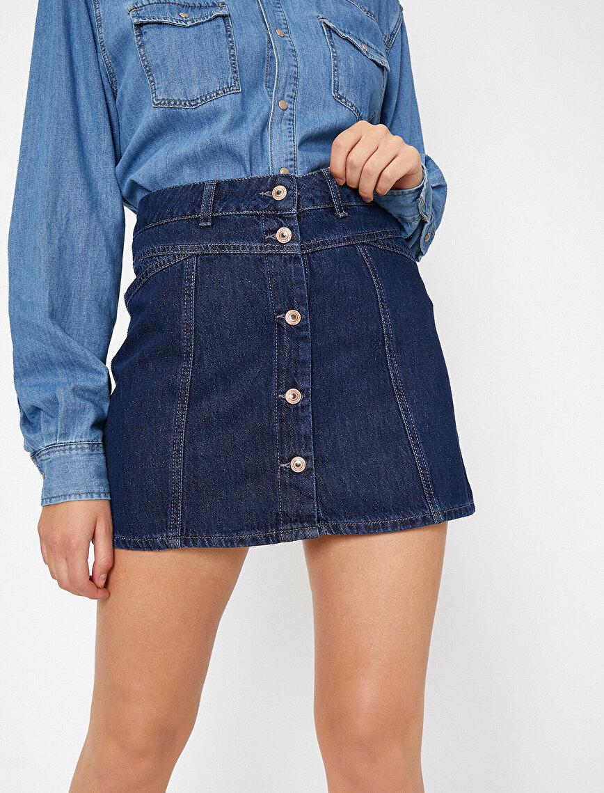 Button Detailed Jean Skirt